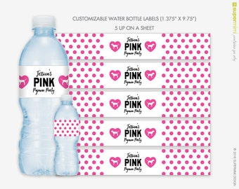 Victorias Secret Themed Pink Polka Dots Water Bottle Wrapper Labels / Customized DIY Printable