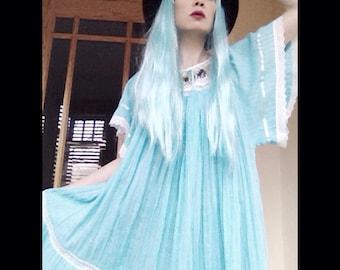 Vintage handmade robin egg blue peasant  bohemian hippie folk dress with hand crochet flower neckline and lace detailed extra full skirt