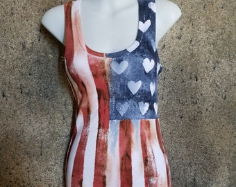 American Flag Print with Hearts Tank Top