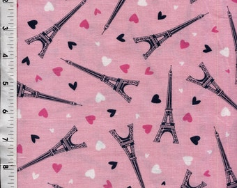 Timeless Treasures Tossed Eiffel Towers and Hearts  Fabric