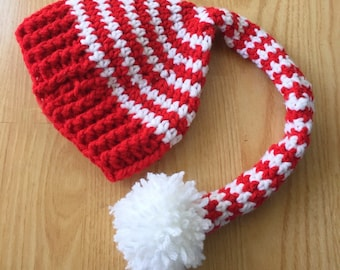Crochet Elf Hat Red Green