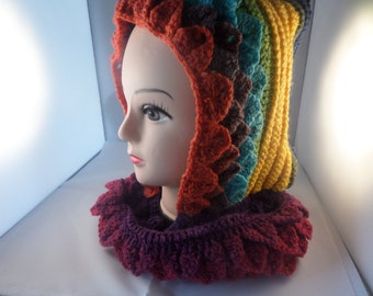 Hooded cowl, hooded scarf, crocodile stitch, hand crochet, hand made snood, dragon claw stitch, winter hood, cowl and hood, random colours,