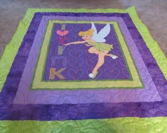 "Tinker Bell - Tinkerbell- Tink - Tinkerbell Quilt - 51"" x 59"" - I Love Tink Quilt."