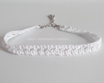 White Crochet Choker Necklace,  Crochet Choker, White Choker Necklace, White Lace Choker, White Choker, Popular Necklace, Women Necklace