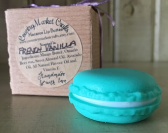 Vanilla Lip Butter French Macaron Lip Butter - All Natural Lip Butter in a Macaron Shaped Pot