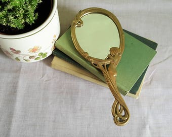 Art Nouveau hand mirror • vintage brass mirror • hand held mirror • vanity mirror • antique mirror • French collectable • French romantic