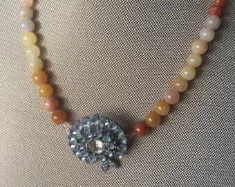 Vintage Necklace, Vintage Brooch, Beaded Necklace, Vintage Upcycled Necklace, Vintage Jewelry, Recycled Vintage Jewelry Necklace