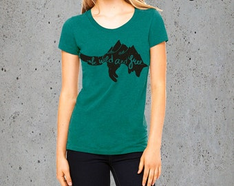 Womens Wild & Free MOUNTAINS FOX TShirt)Mountains T Shirt,Camping Clothing,Girlfriend Gift-American Apparel Graphic Tee-Birthday Gift Gift