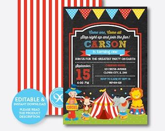 Instant Download, Editable Circus Birthday Invitation, Circus Invitation, Circus Party Invitation, Boy Invitation, Chalkboard (CKB.89B)