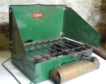Coleman Portable Stove / Vintage Camping / Coleman  refillable / Very old version of the classic green stove / NEW PRICE