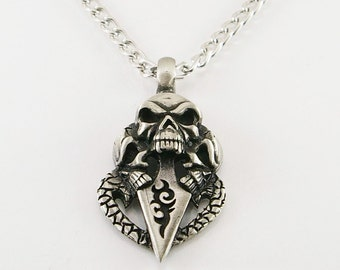 Skull with rose pendant, men pendant, men necklace, skull pendant, skull pendant necklace, men gift,
