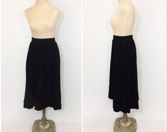 80s Lambswool Angora CIRCLE Skirt Black Skirt xs Extra Small Medium Swing Skirt POCKETS Full Circle Skirt Retro High Waist Circle MINIMALIST