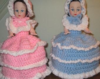 Crochet Toilet Tissue Doll Cover Vintage Crochet Toilet Paper Doll Cover Retro Crochet Toilet Paper Doll Cover