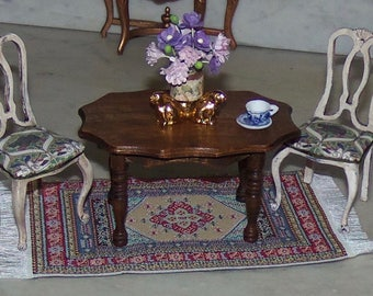 Small Wooden Table for 1:12th Dollhouse.  Stained Wood.  Carved Legs.  Piecrust Top.