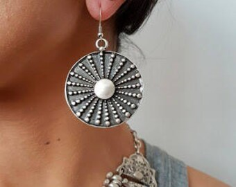 OTTOMAN EARRINGS / / silver plated earrings / / Turkish jewelry/tribal/round/boho/Christmas / for her /.