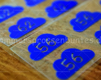Size label, iron-on patches size {clouds}, set of 10 blue