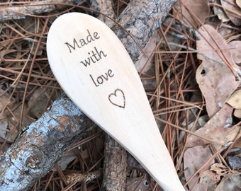 Made with love wooden spoon, grandparents gift, parents gift, love wooden spoon, heart spoon, rustic wooden spoon