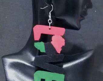 Red Black Green Africa Love/Love Africa Pan African Flag Earrings MADE TO ORDER