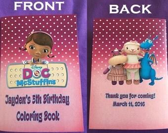 12 Personalized Doc McStuffins Coloring Books, Party Favors