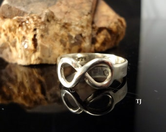 Infinity Ring, Handmade, 925 Sterling Silver, Size 7.25