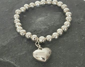 Stretch Ball Bracelet with Heart Charm