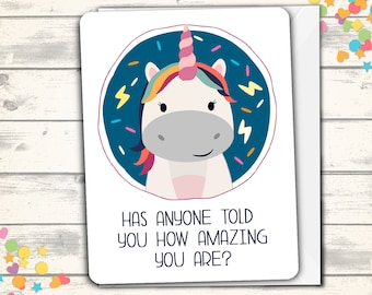 Unicorn Friend Card, Best Friend Greeting Card, Funny Thinking of You, Bestie Card, Pun Cards, Just Because, Magical Pun, Girlfriend Card