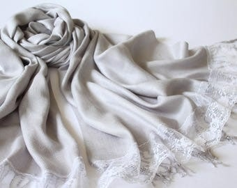 Silver Pashmina Shawl with Lace Embellishment - Light Gray Scarf for Bride - Wedding Shawl Silver and Ivory Lace - Bridesmaid Shawl Silver