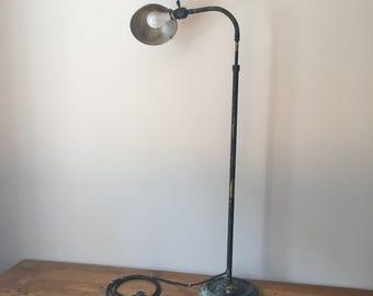 Vintage industrial brass floor lamp with adjustable goose neck