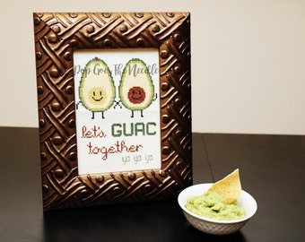 "Avocado ""Let's GUAC Together"" *Cross Stitch PATTERN DOWNLOAD*"