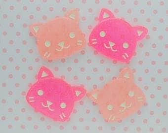 35mm Kawaii Sparkly Pink Cat Flatback Resin Decoden Cabochons - set of 4