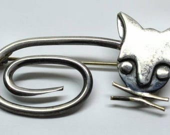 Vintage Mexico Orvelo Sterling Silver Modernist Cat Pin