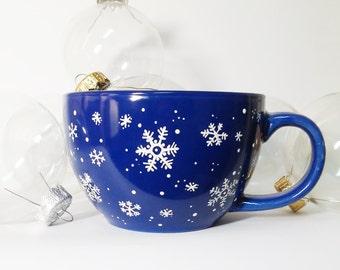 Christmas mug Blue Snowflake mug Christmas coffee cup tea cup Christmas gift Large Coffee Mug Jumbo Ceramic Cup Hand painted big cup