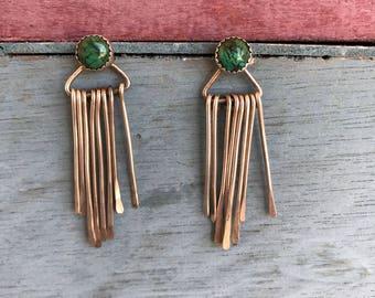 Navajo Azurite Sterling Silver Dangling Post Stud Earrings 6.6g