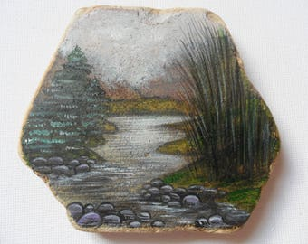 Large Misty river valley Ireland - Acrylic miniature painting on English sea pottery
