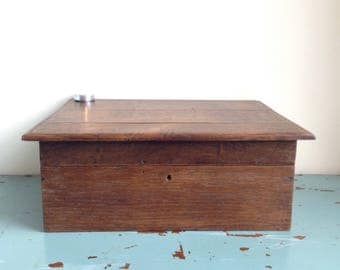 Antique oak wedding box. Vintage wooden box perfect for trinkets, jewellery or a memory box etc. Old wooden box