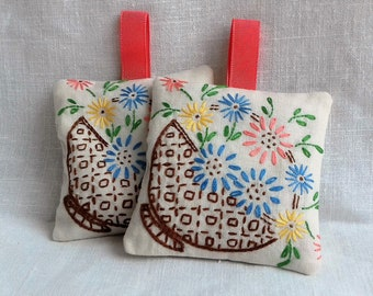Set of Two Embroidered Vintage Linen Lavender Sachets