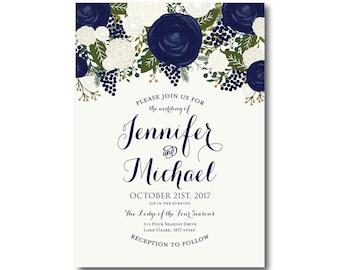 Vintage Floral Wedding Invitation, Fall Wedding, Vintage Floral, Floral Wedding, Vintage Wedding, Vintage Floral Invitation #CL259