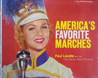 America's Favorite Marches, Paul Lavalle and the Cities Service Band of America, Vintage Record Album, Vinyl LP, College, High School Band