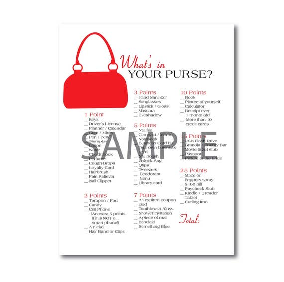 Red What's in your Purse Wedding Bridal Shower Printable Game