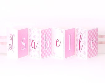 Personalised Girl's Name Banner Card; Baby Girl Keepsake Card; New Baby Concertina Card; Pink Baby Card; CC022