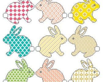 Hopping Easter Bunnies Easter time project Springtime cross stitch pattern cute patterned animals instant download Easter Peeps