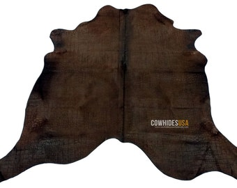 Dark Brown Dyed Cowhide Rug. Unique Embossed Crocodile / Alligator skin Design Size: 6' X 6.6' C-764 New Brazilian