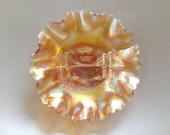 Dugan Brooklyn Bridge 10 Ruffle Carnival Glass Bowl - Marigold