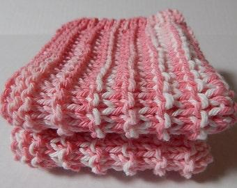 Cotton Dishcloths, Pink Dishcloths, Knit Dishcloths, Knitted Dishcloths, Hand Knit Dishcloths, Kitchen Cloths, Dishrags