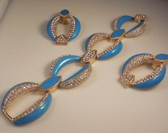 Vintage Haute Couture Runway Aquamarine Cloisonné Enamel Crystal Rhinestone Bracelet & Clip Earrings Demi Parure