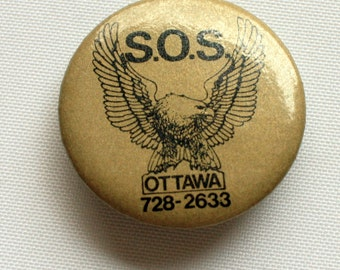 S.O.S. Ottawa Pin Back, S.O.S. Power Sales & Service - Lawn, Garden and Snow Removal Equipment