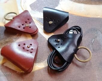 Leather Cord Holder - Earbud Cable Cord Organizer Handmade, Earphone Cord keeper, Headphone USB Winder, Personalized,Minimalist