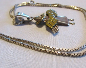 Sterling Silver and Brass Angel Necklace from Mexico