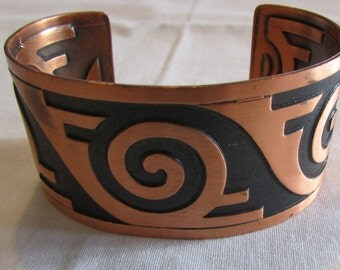 Solid Copper Cuff Bracelet with Southwest Design