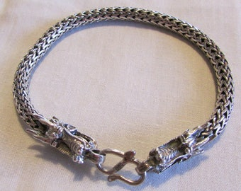 Sterling Silver Braided Chain Bracelet with Dragon Clasp